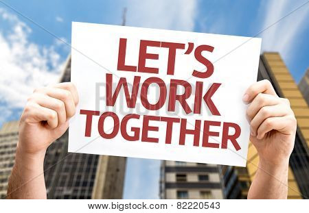 Let's Work Together card with a urban background