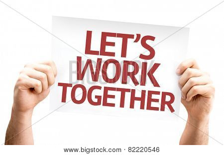 Let's Work Together card isolated on white background
