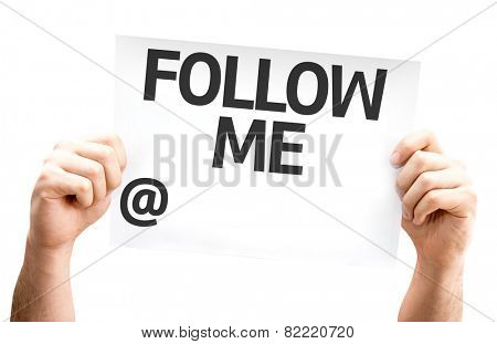 Follow Me with a copy space to put your profile card isolated on white background