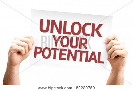 Unlock your Potential card isolated on white background