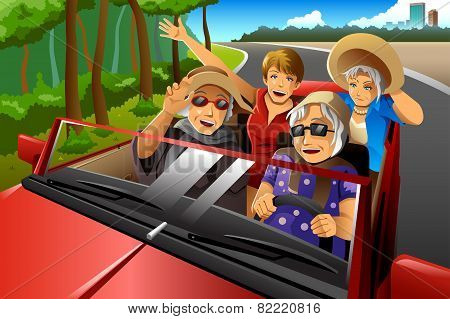 Happy Stylish Elderly Women Riding A Car