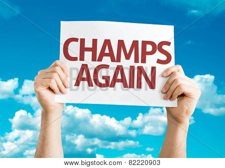 Champs Again card with sky background