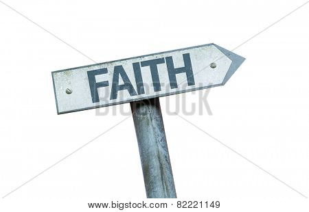 Faith sign isolated on white background