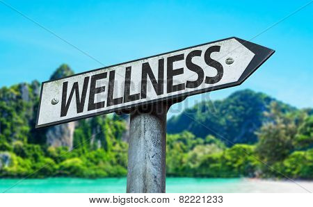 Wellness sign with a beach on background