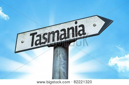 Tasmania sign with a beautiful day