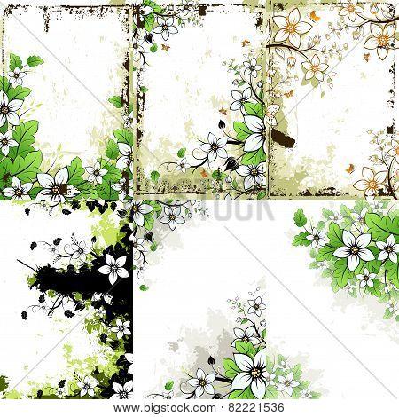 Grunge Floral Backgrounds Set