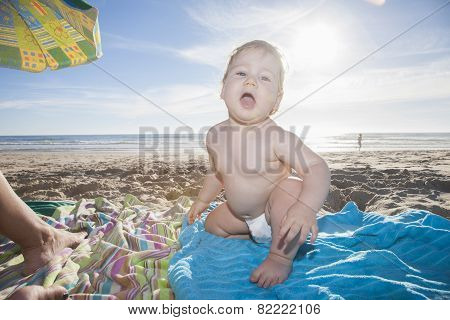 Backlighting Baby At Beach