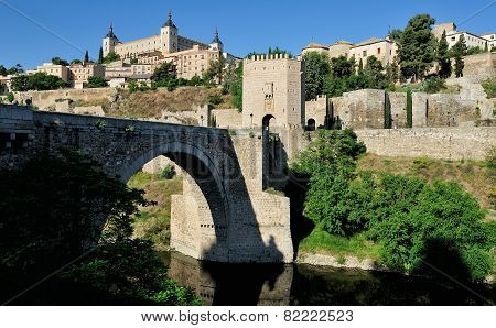 The Alcantara Bridge And The Alcazar, Toledo, Spain