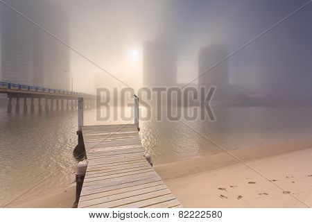 Foggy Morning In The Centre Of Big Modern Australian City