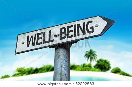 Well-Being sign with a beach on background