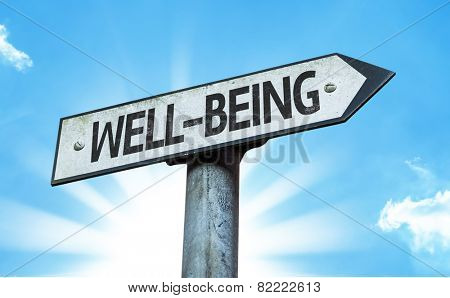 Well-Being sign with a beautiful day