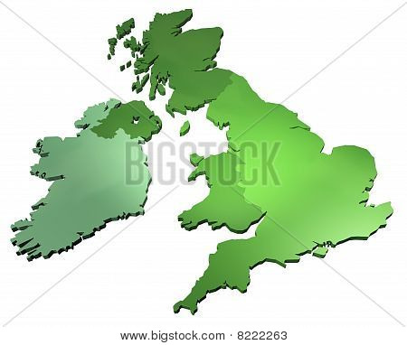 A 3D map of United Kingdom on white background