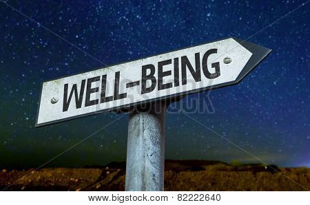Well-Being sign with a beautiful night background