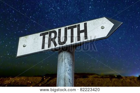 Truth sign with a beautiful night background