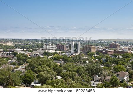 RAPID CITY, SOUTH DAKOTA-JULY 23, 2013: Low aerial view of downtown Rapid City, South Dakota, USA