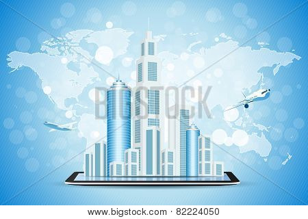 Blue Background With Business City On Tablet Computer