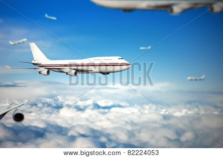 air transport. planes in the sky. travel by air transport. flying to the top of the airliner. nobody