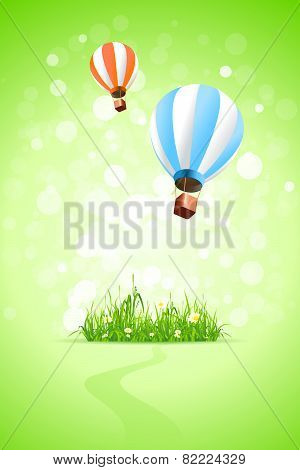 Green Background With Grass And Hot Air Balloons