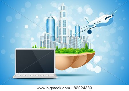 Blue Background With Business City Laptop And Aircraft