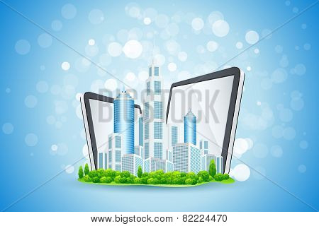 Blue Background With Business City And Tablet Computers