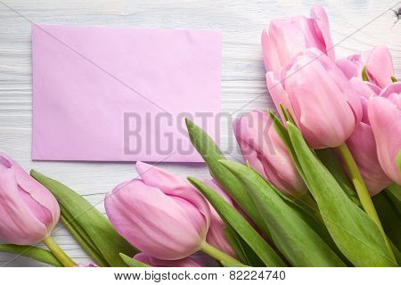tulips and post card. March 8th, mother's day, valentine's day, International Women's Day, lilac, congratulate, celebrate