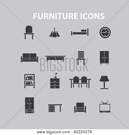 furniture, interior room icons, signs, illustrations set, vector