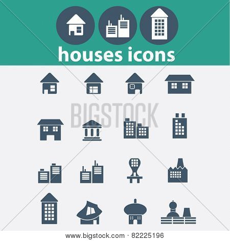 house, building, real estate, location icons, signs, illustrations set, vector