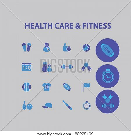 health care, fitness, gym, baseball, basketball, bodybuilding, winner, bowling, game icons, signs, illustrations set, vector
