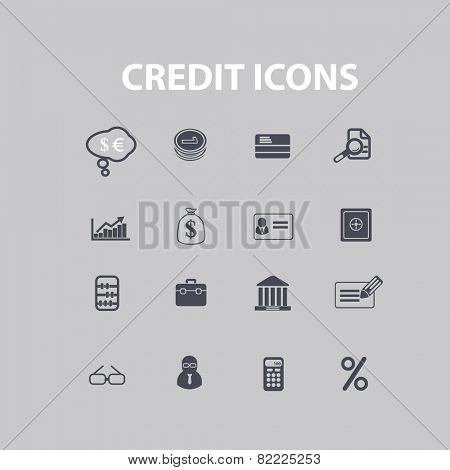 credit, online banking icons, signs, illustrations set, vector