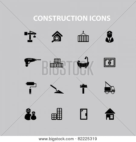 construction, repair, room, house, door icons, signs, illustrations set, vector