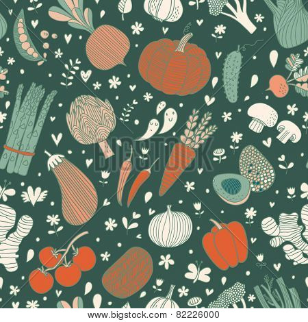 Awesome tasty seamless pattern with green peas, eggplant, potato, carrot, pumpkin, avocado, leek, radish, pepper, cherry tomato, champignon, onion and other vegetables