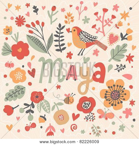 Bright card with beautiful name Maya in poppy flowers, bees and butterflies. Awesome female name design in bright colors. Tremendous vector background for fabulous designs