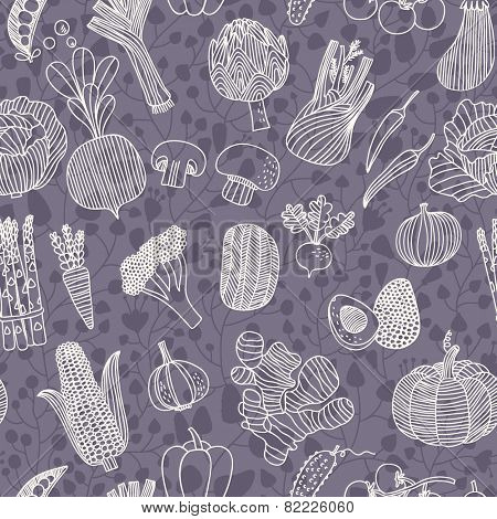 Vegetarian seamless pattern with green peas, eggplant, potato, carrot, pumpkin, avocado, leek, corn, cucumber, cabbage, radish, pepper, cherry tomato, chili, garlic, champignon, onion and others