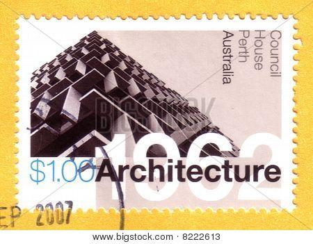 Alrededor del año 2007: Cancelado australiano estampilla arquitectura Perth Landmark
