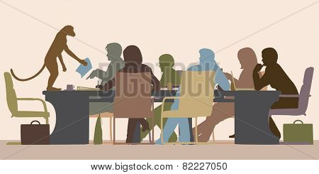 EPS8 editable vector illustration of a business meeting chaired by a monkey with all figures as separate objects