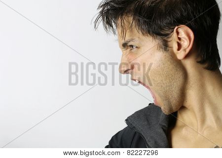 man screaming in rage