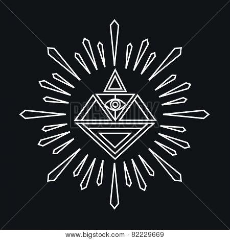 Vector Linear Abstract Hipster Logo Template - Magical Diamond