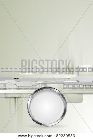 Grey hi-tech background with metallic circle. Vector design