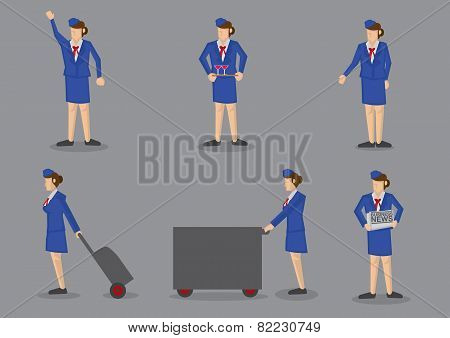 Air Stewardess Vector Icon Set