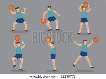 Basketball Player With Basketball Jumping, Shooting And Throwing Poses