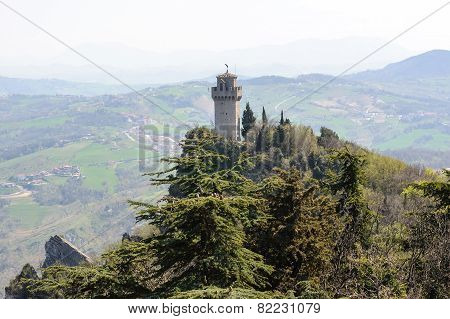 Panoramic View Of A Small Tower Montale From The Fortress Guaita