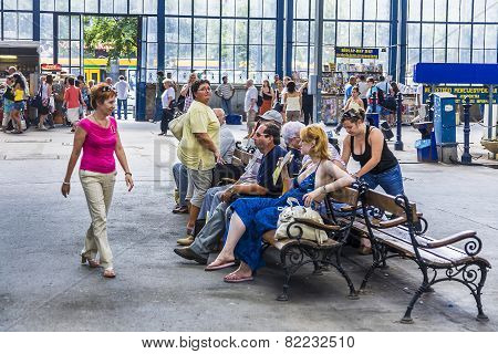 People Waiting At Keleti West Train Station