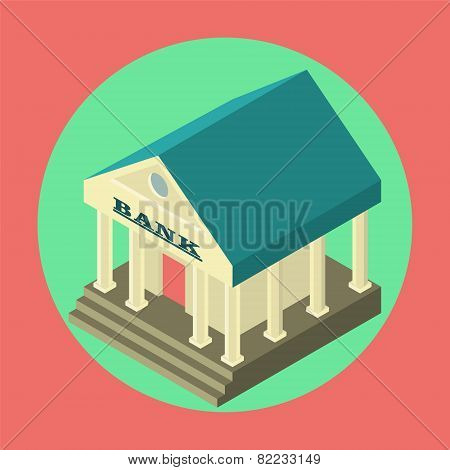 Bank Finance  Flat  Isometric Icon
