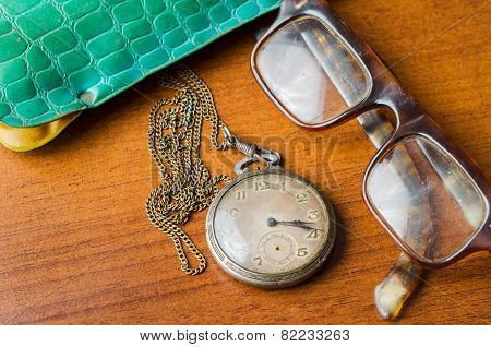 Pocket Watch With Glasses And  Case