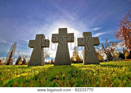 Graveyard Three Crosses Silhouette View