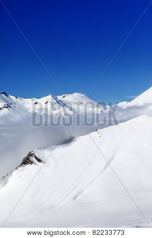 Winter Snowy Mountains At Sunshine Day