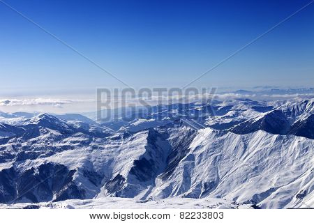 Winter Snowy Mountains In Sun Day