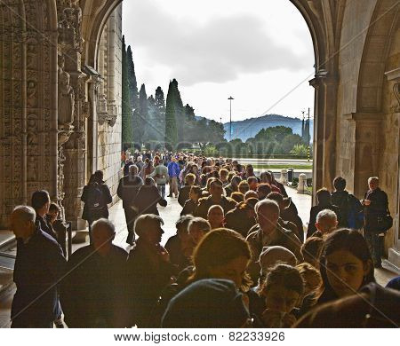 People Visit The Monastery Of Jeronimos