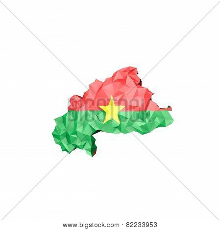 Low Poly Burkina Faso Map With National Flag