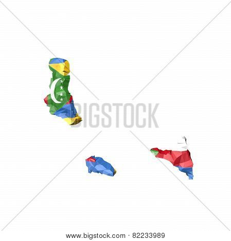 Low Poly Comoros Map With National Flag
